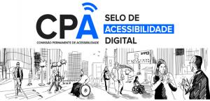 Arte em fundo branco, com o logotipo da Comissão Permanente de Acessibilidade (CPA)