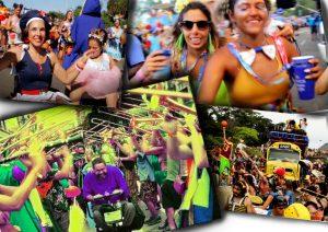 Montagem com quatro fotos com pessoas com e sem deficiência em blocos de carnaval de rua