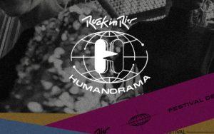 Logo do Rock in Rio Humanorama com uma mapa mundi feito de linhas branças. À frente, há dois balões de fala de lado, um branco e um vazado, com as pontas entrelaçadas