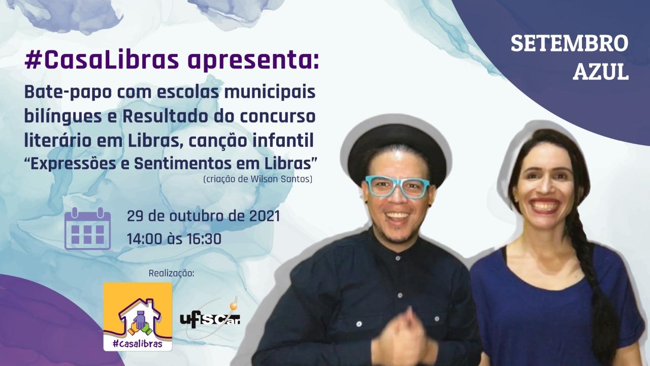 Arte de divulgação da live do programa #CasaLibras